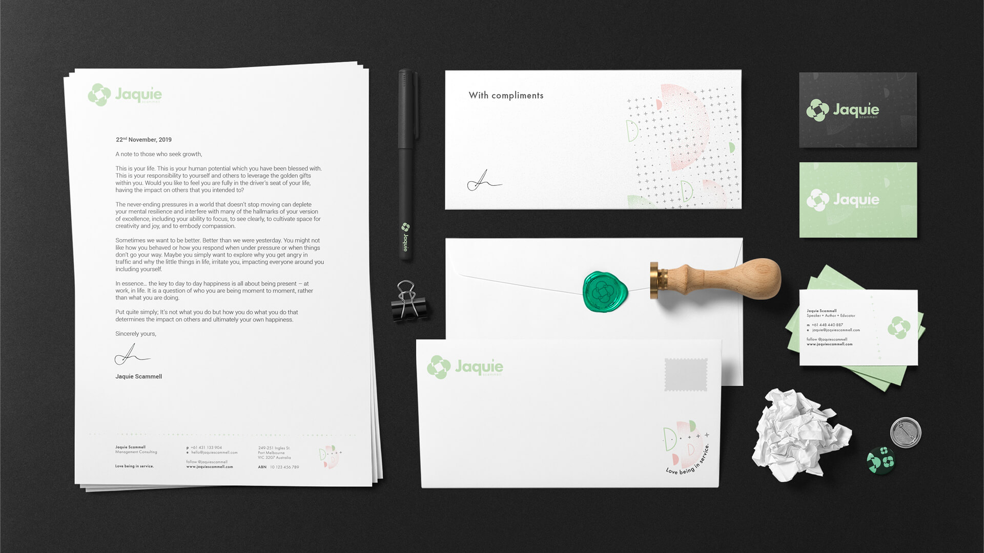 Jaquie Scammell Branded Stationery Set
